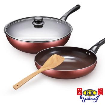 固鋼 固鋼 褐牙陶瓷不沾雙鍋四件組-炒鍋32cm+平底鍋26cm (電磁爐適用)
