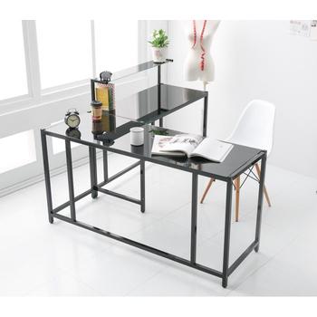 Ashley House 超質感防爆玻璃146x100公分L型大桌面工作桌/電腦桌-(2色可選)(黑色)
