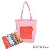 《韓版》DINIWELL卡通防水折疊收納手提袋(4色)(紅色兔子)