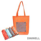 《韓版》DINIWELL卡通防水折疊收納手提袋(4色)(灰色狐狸)