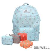 《韓版》DINIWELL卡通防水折疊收納後背包(4色)(藍色企鵝)