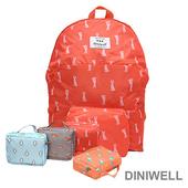 《韓版》DINIWELL卡通防水折疊收納後背包(4色)(紅色兔子)