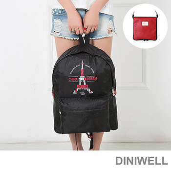韓版 DINIWELL極輕量防水摺疊旅行收納後背包(16L)(經典中國)
