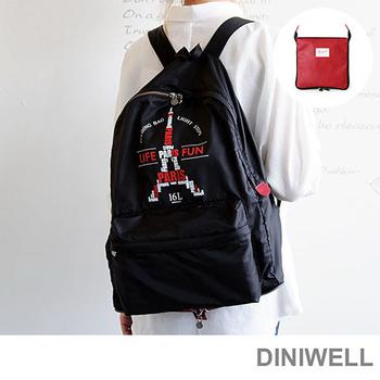 韓版 DINIWELL極輕量防水摺疊旅行收納後背包(16L)(浪漫巴黎)
