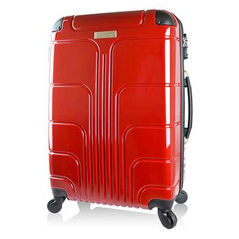 ★結帳現折★Luggagezone 旅遊家24吋PC鏡面防水拉鍊海關鎖行李箱/旅行箱(亮麗紅)