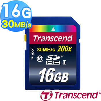 Transcend 創見 16G SDHC 30MB/s Class10 記憶卡 (公司貨)(16G)