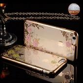 iPhone 6s/6 & iPhone 6s/6 Plus手機殼保護殼ETOUCH人間仙境電鍍鑲鑽軟殼保護套(5.5吋金邊黃花)