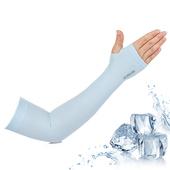 《活力揚邑》指孔涼感萊卡袖套防曬UPF50抗UV防蚊吸濕排汗自行車路跑登山臂套(清涼藍)