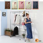 《BuyJM》鐵力士120x45x183cm六層雙吊桿布套衣櫥附PP輪(米白)