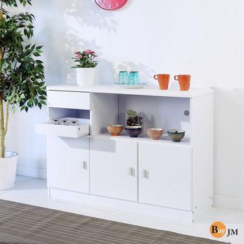 BuyJM 防潑水三門一抽附托盤廚房櫃/收納櫃(白色)