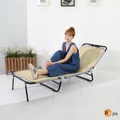 《BuyJM》蓆面包邊三折折疊床/躺椅(原木色)