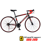《StepDragon》SRS-260 A+ 高碳鋼異型管 搭配 24速 建大外胎 彎把公路車 (4配色可選)(黑紅)