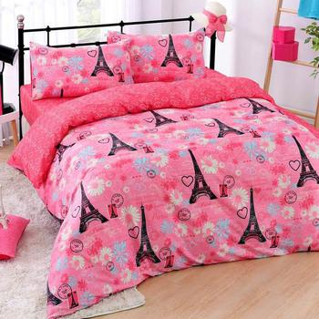 羽織美 浪漫鐵塔 舒柔棉加大四件式被套床包組(台灣製造)