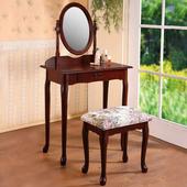 《Homelike》古典歐風化妝台-胡桃色