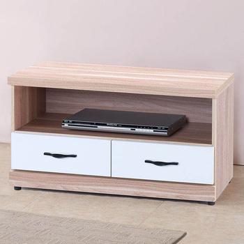 Homelike 愛瑪3尺電視櫃(原木+白色)