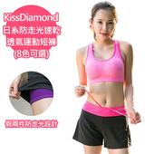 《【KissDiamond】》日系防走光速乾透氣運動短褲-玫紅(S)