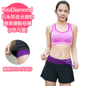 《【KissDiamond】》日系防走光速乾透氣運動短褲-紫色(S)
