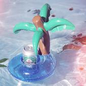 《韓版》漂浮充氣杯座(多款可選)2入組(椰子樹+黃色小鴨)
