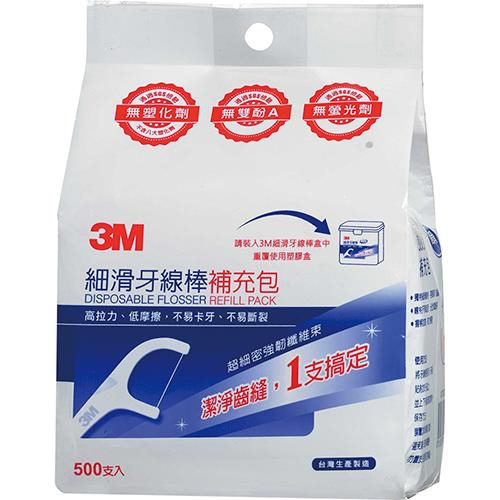 《3M》細滑牙線棒補充包(500支入)