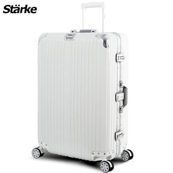 Starke 德國設計 28吋PC+ABS鏡面鋁框硬殼行李箱 A系列 axspk6007(六色可選)(白色)