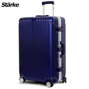 Starke 德國設計 28吋PC+ABS鏡面鋁框硬殼行李箱 A系列 axspk6007(六色可選)(藍色)