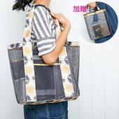 《Bunny》加厚網袋1+1休閒購物健身手提包(深藍)