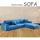 《【時尚屋】》[U6]傑克藍色布套三人L型沙發U6-919-20SB
