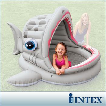 ★結帳現折★INTEX BABY鯊魚游泳池/遮陽戲水池(201*198cm)(121L) (57120)