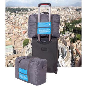 《統頂》韓版 DINIWELL 大容量32L可折疊多功能手提/肩背旅行袋 行李袋 行李箱 適用(藍+灰色)