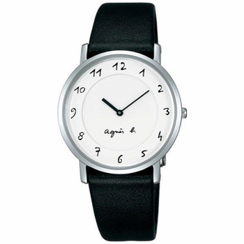 agnes b. 【agnes b.】簡約手繪刻度 時尚皮帶腕錶-黑x白(BG4001P1/7N00-0BC0S)