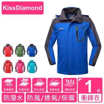 【KissDiamond】 奈米無縫防水防風保暖外套-男款 (騎車/登山/戶外活動/防水/防風/保暖)(男款-藍色/XL)