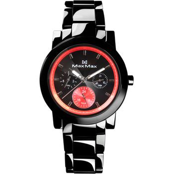 MAXMAX 【MAX MAX】酷炫三眼計時陶瓷腕錶-黑x紅(MAS50803J-B4)