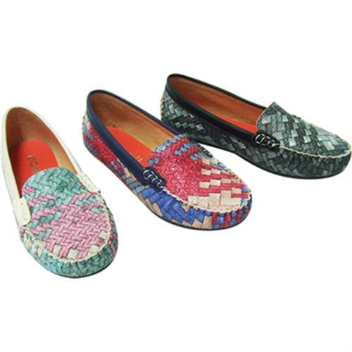 彩色編織懶人鞋(粉綠 24)
