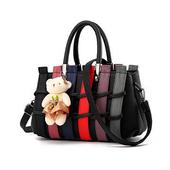 《L.Elegant》韓版編織甜美肩背斜跨手提造型包(共二色)(黑色)