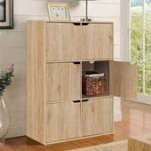 《佳嘉家》DIY布魯斯六門櫃/書櫃/置物櫃/收納櫃 -兩色選擇(淺橡)