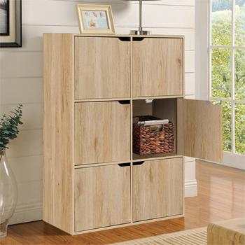 佳嘉家 DIY布魯斯六門櫃/書櫃/置物櫃/收納櫃 -兩色選擇(淺橡色)