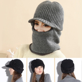 《Verona》韓款冬季多功能男女款機車護頸頭套保暖帽黑色