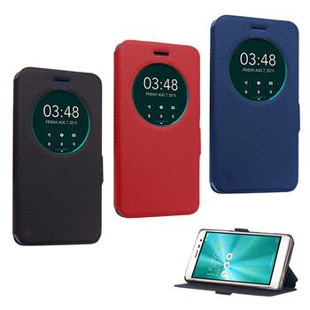 《YANG YI 揚邑》ASUS Zenfone 3/5.5吋 ZE552KL 星光開窗智能休眠磁扣皮套(紅色)