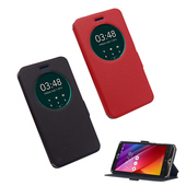 《YANG YI 揚邑》ASUS Zenfone 2 Laser ZE550KL 5.5吋星光紋開窗側立防滑智能休眠磁扣皮套(紅色)