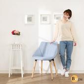 《BuyJM》蔚藍復刻實木腳休閒椅/餐椅/洽談椅(藍色)
