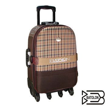 BATOLON寶龍 【25吋】格紋風尚加大六輪旅行箱/拉桿箱/行李箱(咖啡)
