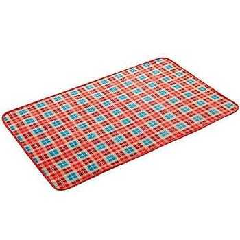 Coleman 美國 Coleman 刷毛毯 抱枕毯 車用毯-紅格紋 #CM-21167M