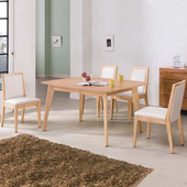 《Homelike》原田5尺餐桌椅組(一桌四椅)-原木色