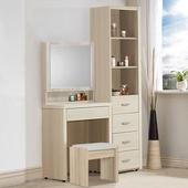 《Homelike》媞娜化妝桌櫃組(含椅子)(白雪松)