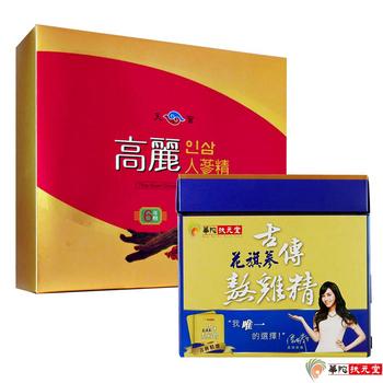 華陀扶元堂 天官高麗人蔘精1盒(6瓶/盒)+古傳花旗蔘熬雞精1盒