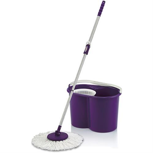 拖神 手壓式伸縮旋轉拖把組(紫)(1桿1布)