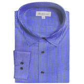 《MURANO》MIT台灣製正式格紋襯衫-藍細格(L)