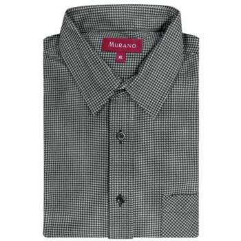 《MURANO》暖流千鳥格紋燈芯絨男款長袖襯衫-灰色(2XL)