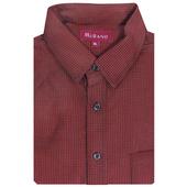 《MURANO》暖流千鳥格紋燈芯絨男款長袖襯衫-紅色(M)