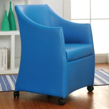 《佳嘉家》DIY薇拉單人沙發椅/電腦椅/休閒椅/工作椅/皮沙發椅-四色(藍色)